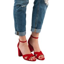 Ideal Shoes Sandałki Na Słupku czerwone 3