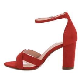 Ideal Shoes Sandałki Na Słupku czerwone 4