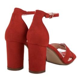 Ideal Shoes Sandałki Na Słupku czerwone 1