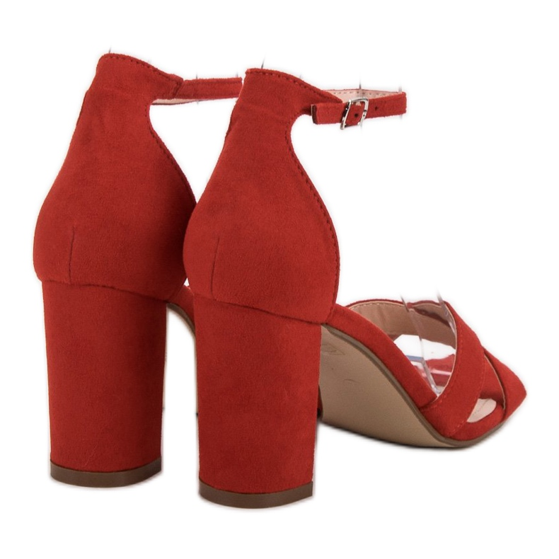 Ideal Shoes czerwone Sandałki Na Słupku zdjęcie 1