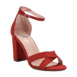 Ideal Shoes Sandałki Na Słupku czerwone 5