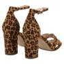 Ideal Shoes Sandałki Na Słupku brązowe 1