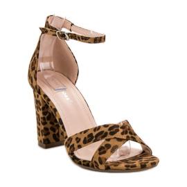 Ideal Shoes Sandałki Na Słupku brązowe 5