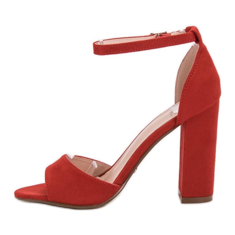 Ideal Shoes czerwone Wygodne Sandałki Na Obcasie zdjęcie 2
