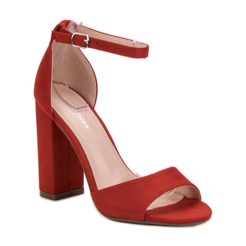 Ideal Shoes czerwone Wygodne Sandałki Na Obcasie zdjęcie 3