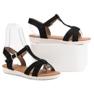 EXQUILY Klasyczne Zamszowe Sandały czarne 3