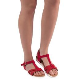 EXQUILY Klasyczne Zamszowe Sandały czerwone 1
