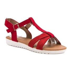 EXQUILY Klasyczne Zamszowe Sandały czerwone 2