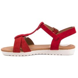 EXQUILY Klasyczne Zamszowe Sandały czerwone 3