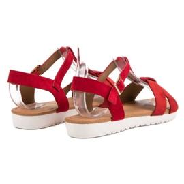 EXQUILY Klasyczne Zamszowe Sandały czerwone 4