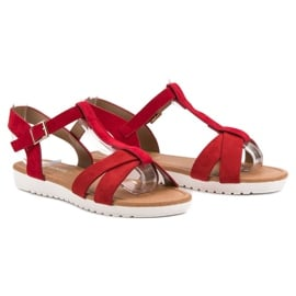 EXQUILY Klasyczne Zamszowe Sandały czerwone 5