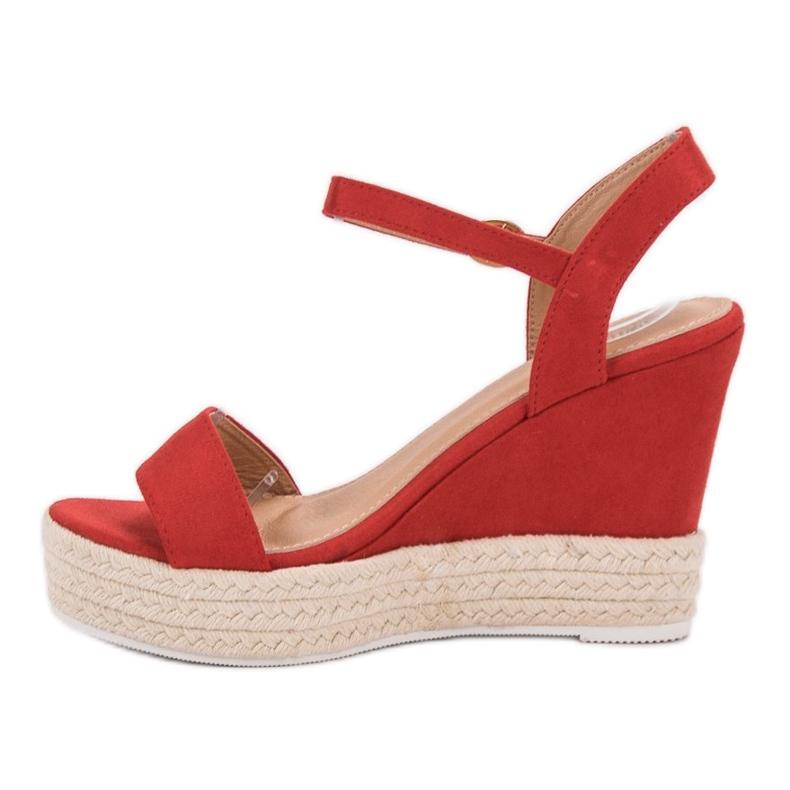 Ideal Shoes czerwone Stylowe Sandałki Na Koturnie zdjęcie 4