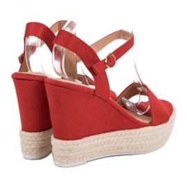 Ideal Shoes Stylowe Sandałki Na Koturnie czerwone 1