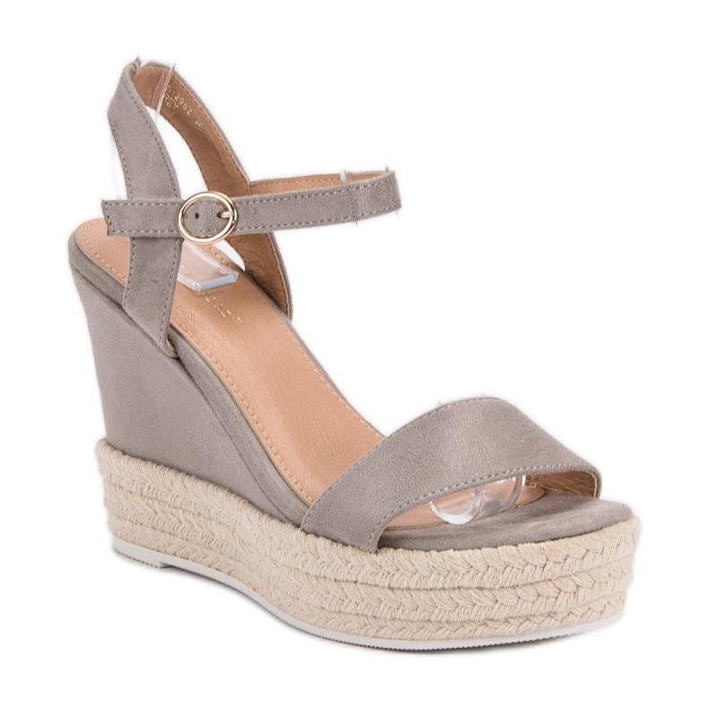 Ideal Shoes szare Stylowe Sandałki Na Koturnie zdjęcie 4