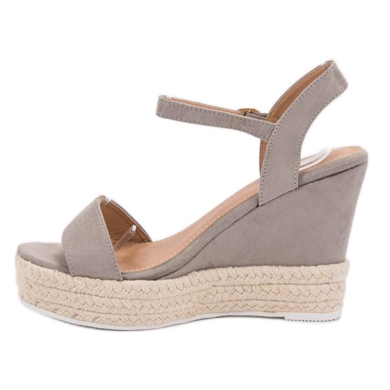 Ideal Shoes szare Stylowe Sandałki Na Koturnie zdjęcie 1