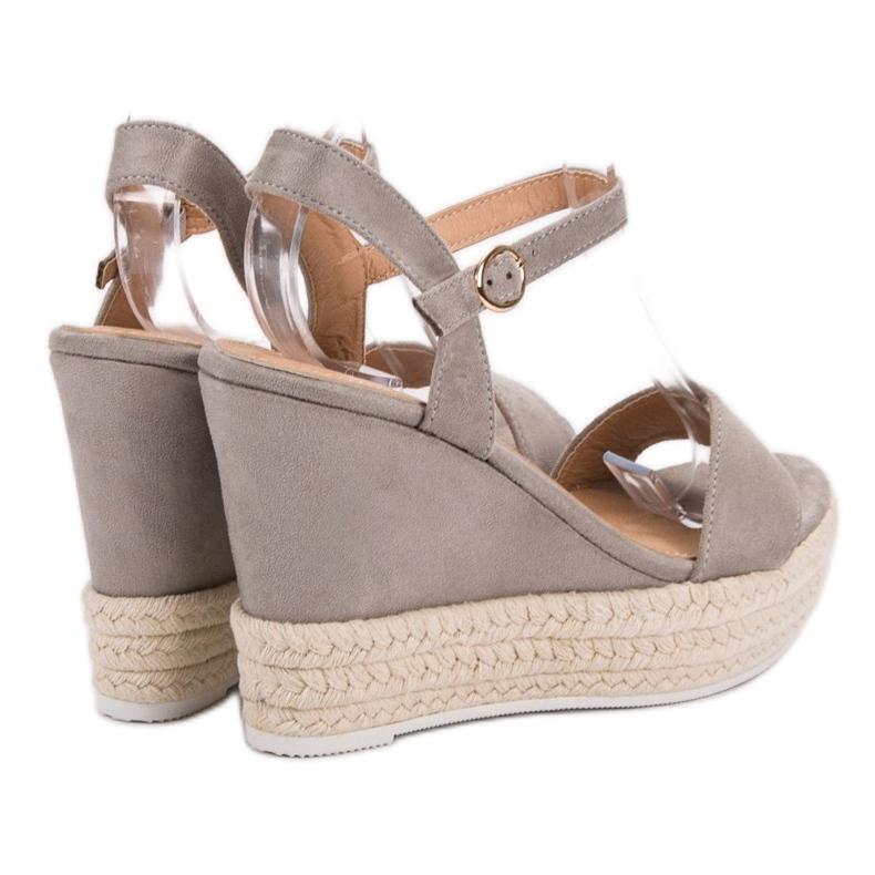 Ideal Shoes szare Stylowe Sandałki Na Koturnie zdjęcie 3