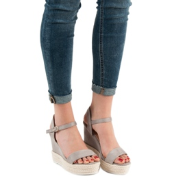 Ideal Shoes Stylowe Sandałki Na Koturnie szare 2