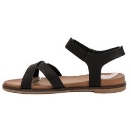 SHELOVET Wsuwane Sandałki czarne 5
