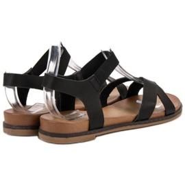 SHELOVET Wsuwane Sandałki czarne 1
