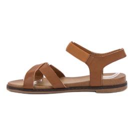SHELOVET Wsuwane Sandałki brązowe 1