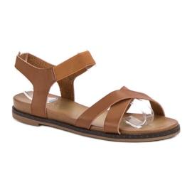 SHELOVET Wsuwane Sandałki brązowe 5