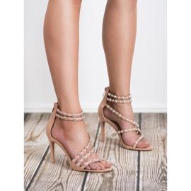 SHELOVET Seksowne Sandały Na Szpilce brązowe 2
