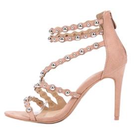 SHELOVET Seksowne Sandały Na Szpilce brązowe 5