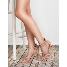SHELOVET Seksowne Sandały Na Szpilce brązowe 3