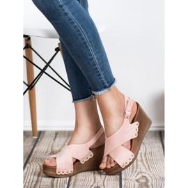 SHELOVET Zamszowe Sandały różowe 1