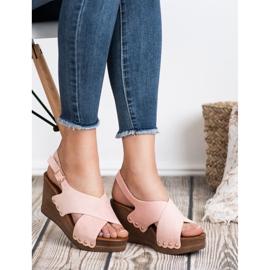 SHELOVET Zamszowe Sandały różowe 2