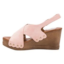 SHELOVET Zamszowe Sandały różowe 4