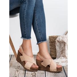 SHELOVET Zamszowe Sandały brązowe 1