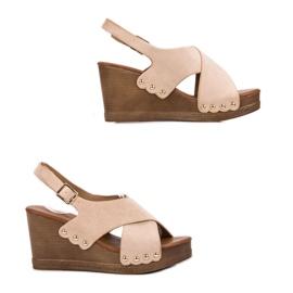 SHELOVET Zamszowe Sandały brązowe 4