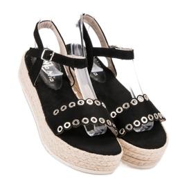 Nio Nio Czarne Sandały Espadryle 5