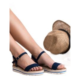 EXQUILY Granatowe Sandałki niebieskie 5