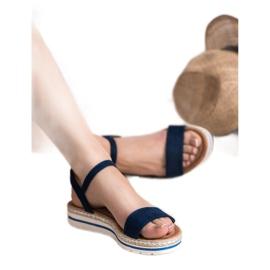 EXQUILY Granatowe Sandałki niebieskie 4