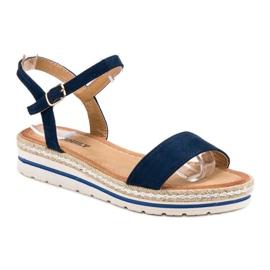 EXQUILY Granatowe Sandałki niebieskie 1