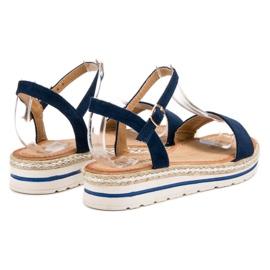 EXQUILY Granatowe Sandałki niebieskie 3