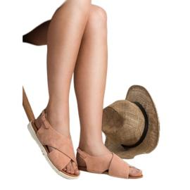 Primavera Zamszowe Zabudowane Sandały różowe 1