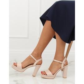 Sandałki na platformie beżowo-różowe HJ101 Pink 3