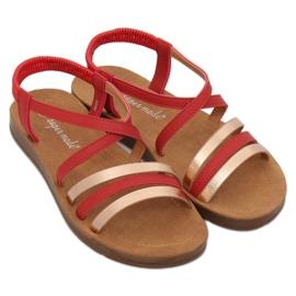 Sandałki damskie czerwone 2220 Red 1
