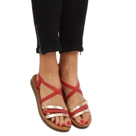 Sandałki damskie czerwone 2220 Red 3