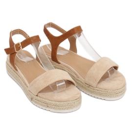 Sandałki espadryle beżowe Y-8224 Beige brązowe 2