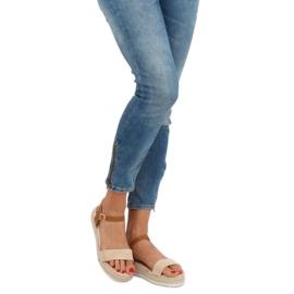 Sandałki espadryle beżowe Y-8224 Beige brązowe 3