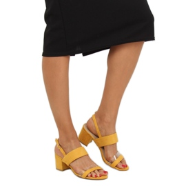Sandałki na obcasie żółte 660-1/SA-2 Yellow 1