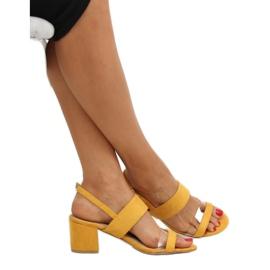 Sandałki na obcasie żółte 660-1/SA-2 Yellow 2