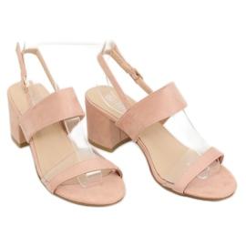 Sandałki na obcasie różowe 660-1/SA-2 Pink 3