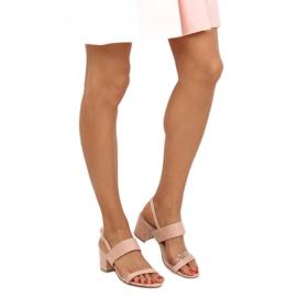 Sandałki na obcasie różowe 660-1/SA-2 Pink 1