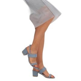Sandałki na obcasie niebieskie 660-1/SA-2 Blue 2