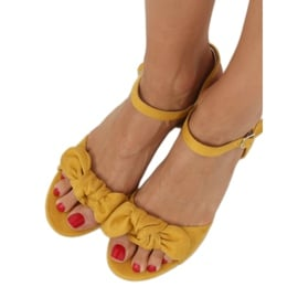 Sandałki na obcasie żółte FH-3M22 Yellow 1